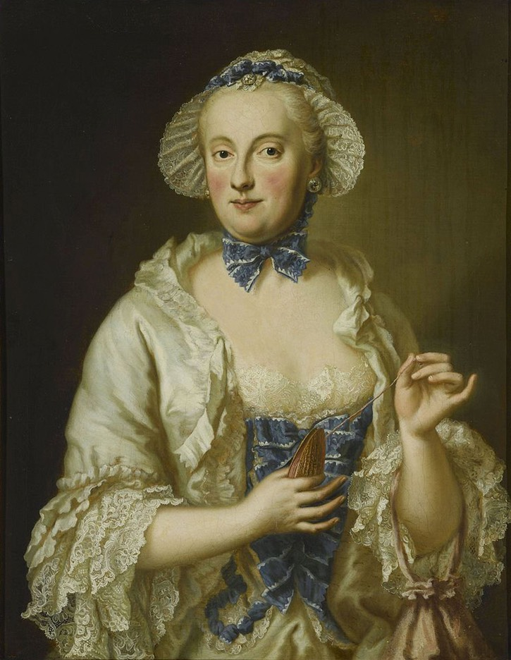 ca. 1764 Princess Charlotte Amalie of Hesse-Philippsthal (or Maria Anna Sophia of Saxony) by Georg Desmarées studio (Museum Friedberg im Wittelsbacher Schloss - Friedberg, Bayern, Germany) removed large spots from background