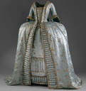 ca. 1765 Pale blue silk satin with hammered silver floral brocade and silver bobbin lace trim one of Queen Marie Antoinette's Austrian ladies-in-waiting (Metropolitan Museum of Art - New York City, New York USA)