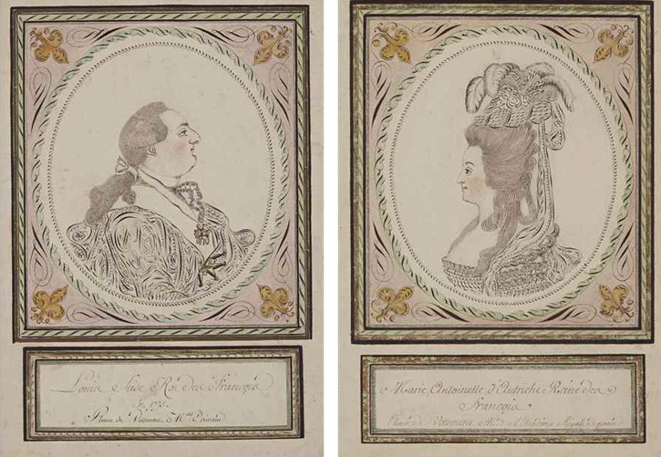 ca. 1775 Calligraphies of Louis XVI and Marie Antoinette by Vottement (auctioned by Christie's) From the Christie's Web site