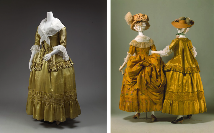 ca. 1778 Casaquin over dress (Metropolitan Museum of Art - New York City, New York USA) frontal left side and back