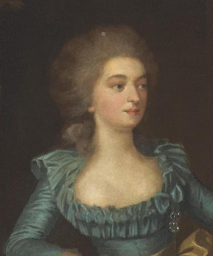 ca. 1780 comtesse Golovine Varvara Nikolaevna, née princesse Galitzine by ? (location ?) From pinterest.com:banuylmaz1984:marie-antoinette-effect-on-fashion-in-18th-century: despot deflaw trimmed