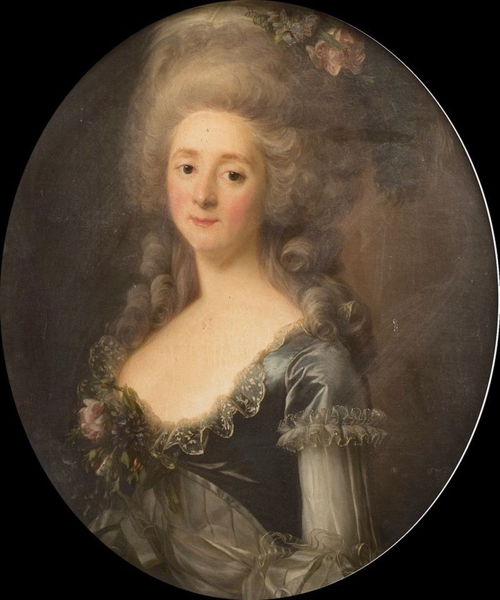 ca. 1785 Princesse Lamballe wearing a zone bodice possibly by Antoine Vestier (location ?) Posted to marie-antoinette.forumactif.org/t114p225-portraits-de-la-princesse-de-lamballe by La nuit, la neige on 1 June 2016