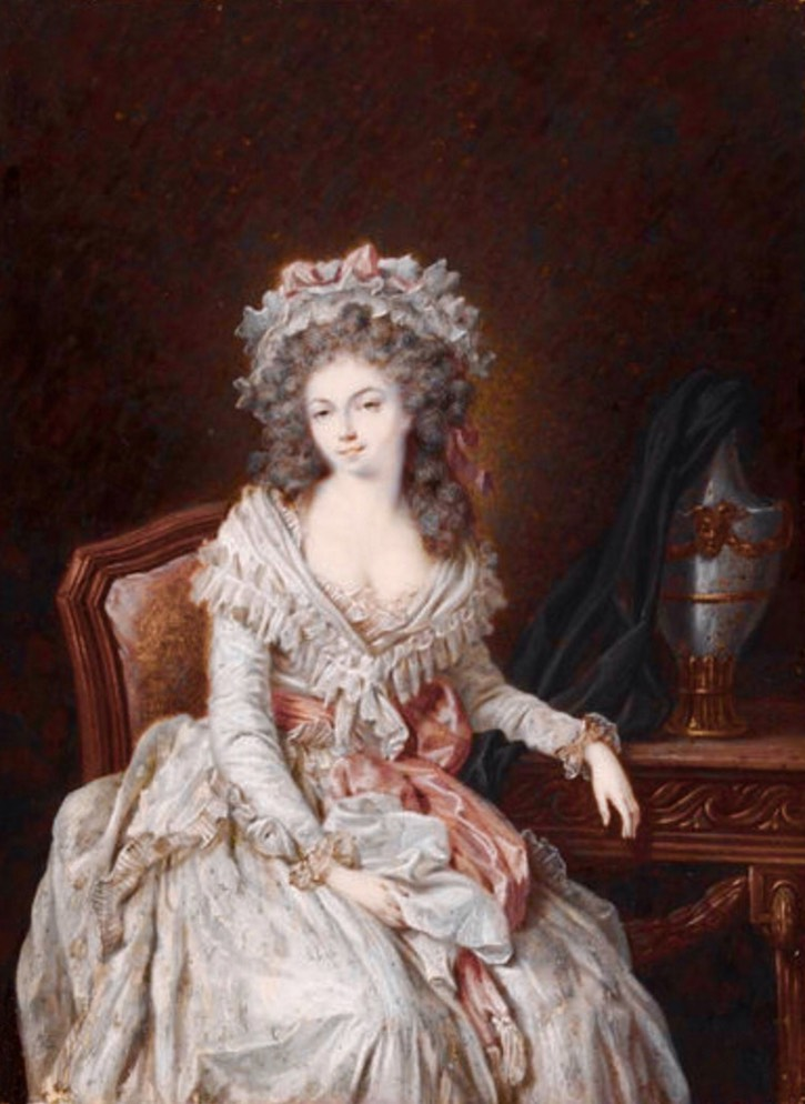 ca. 1786 Marie-Thérèse-Louise de Savoie-Carignan, princesse de Lamballe attributed to Pierre Adolphe Hall (Victoria and Albert Museum - London, UK) From pinterest.com:luisrico2004:maria-antonieta: