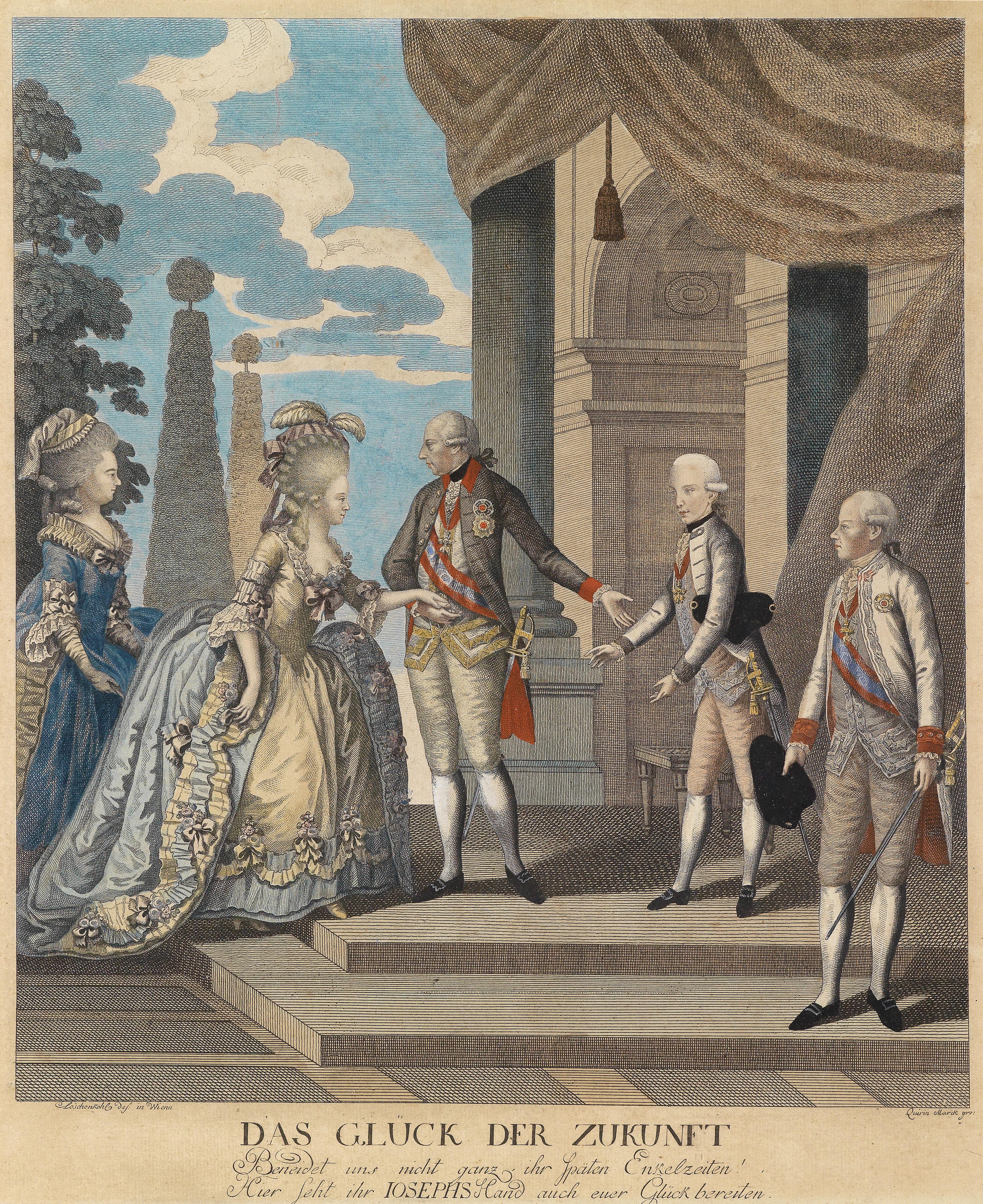 1788 Joseph II mit Franz und Elisabeth Wilhelmine von Württemberg by Quirin  Marck after Hieronymus Löschenkohl