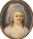 ca. 1790 Frau von Frisching-von Wattenwyl (Barbe Suzanne Brun?) attributed to François-Joseph Desvernois (Tansey Miniatures Foundation collection, Bomann-Museum - Celle, Niedersachsen, Germany) From tansey-miniatures.com/sammlung