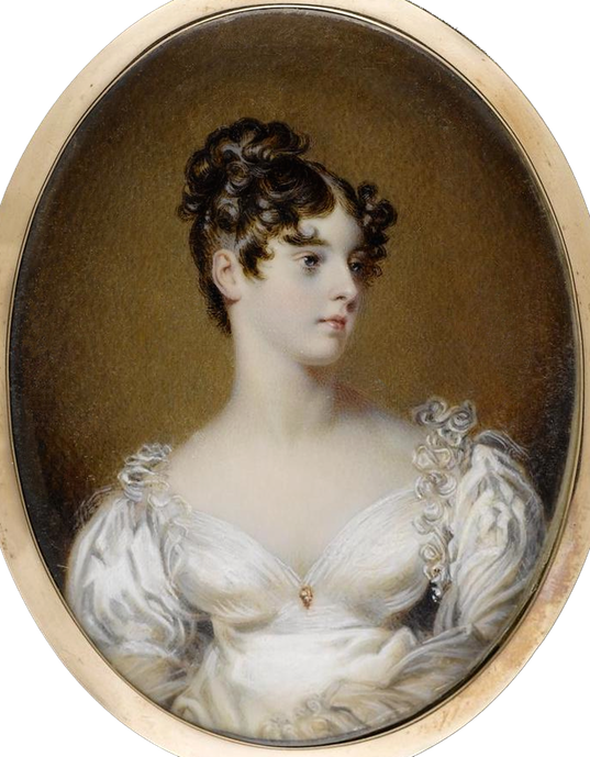 ca. 1820 Lady Elizabeth Leveson-Gower, Marchioness of Westminster (1797-1891), wearing white dress trimmed with ruffles at the shoulders, a jewelled pin at her breast, her brown hair curled and upswept by ? Bonhams copy