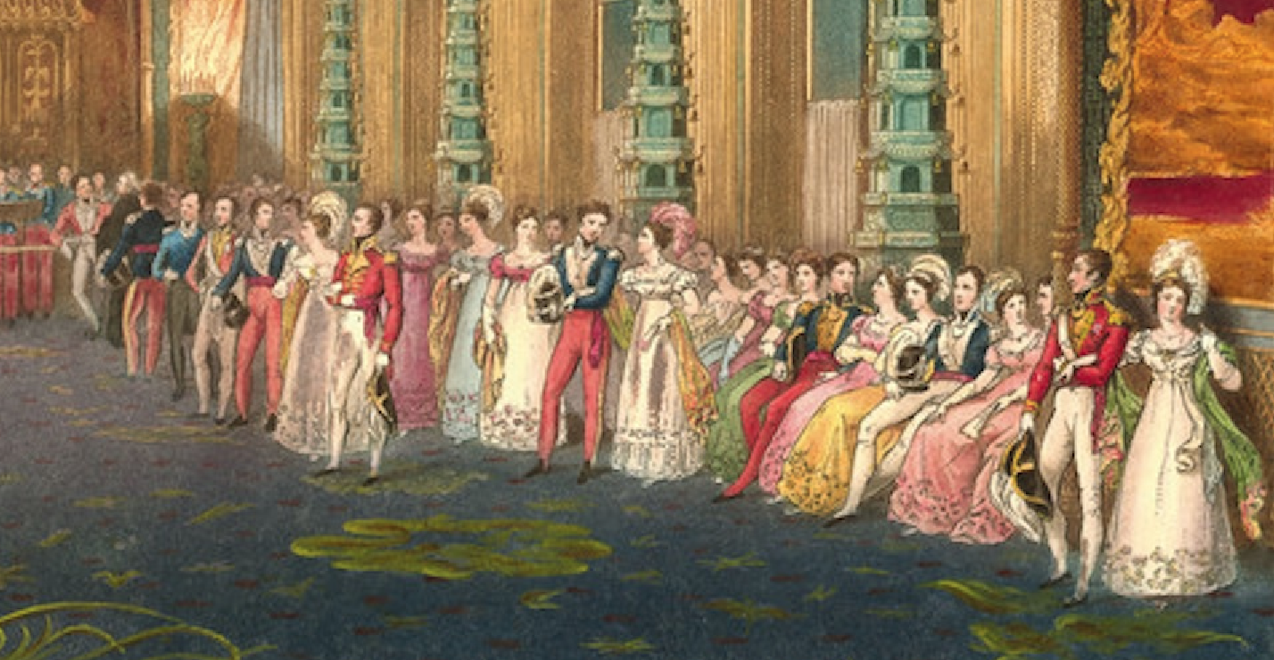 If this print of John Nash's Brighton Pavilion comes from 1823, then it is  a splendid example of British evening dress in 1823. Skirts are A-line, ...