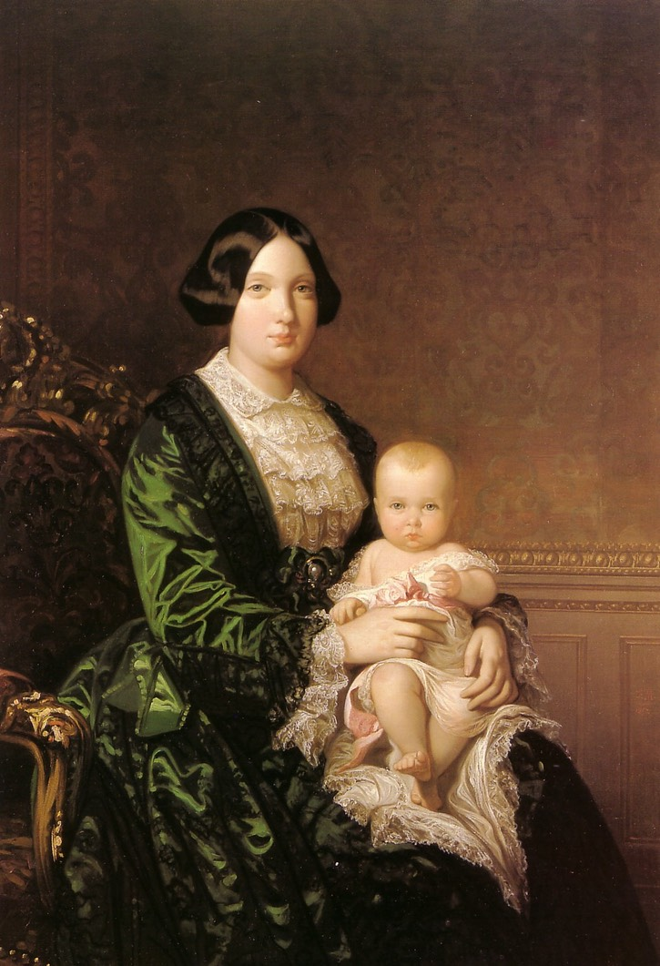 ca. 1853 (estimate based on age of child) Isabel II con la Infanta Isabel by Federico de Madrazo y Kuntz (location ?) From pinterest.com/anavegamedina5/retratos-de-federico-de-madrazo-y-kuntz/.jpg