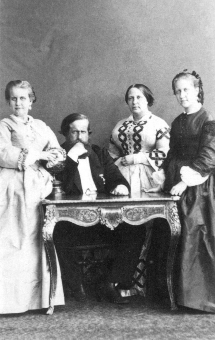 ca. 1863 Brazilian Imperial family around 1863 From left to right - Leopoldina, Pedro II, Teresa Cristina and Isabel by Joaquim José Insley Pacheco despot detint