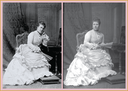 ca. 1875 Princess Helena seated wearing bustle dress twin photos