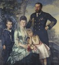 ca. 1880 (estimated based on age of Maria) younger Prince Alfred, Marie Alexandrovna, Princess Marie, and Prince Alfred by ? (Royal Collection?)