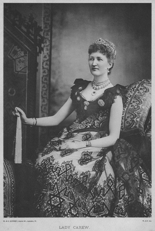 "ca. 1892 Lady Julia Carew by W. & D. Downey (National Portrait Gallery - London, UK) From Pinterest search ""Royal jewelry"" detint"