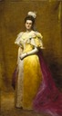 ca. 1896 Emily Warren Roebling by Charles Émile Auguste Carolus Duran wearing a court dress by Worth (Brooklyn Museum - New York City, New York USA)