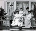 ca. 1904 (estimate based on age of child) Grand Duke Paul, Olga holding baby Irina and Vladimir sitting on the steps From tumblr.com/tagged/irina-paley