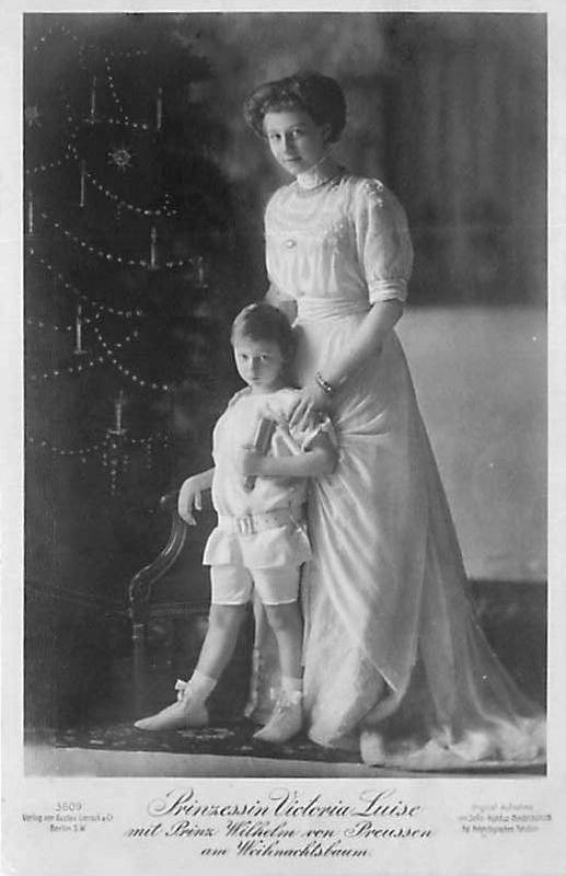 ca. 1910 (based on age of child) Viktoria Luise with nephew Prince Wilhelm of Prussia EB mod