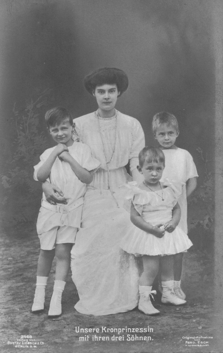 ca. 1912 (estimate based on ages of children) Our Crown Princess and her three sons by Esch From picclick.com/Collectibles/Postcards/Royalty/?page=16 detint