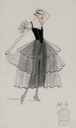 ca. 1915-1916 dark dress with sheer flared over-skirt by Lucile From invaluable.com/auction-lot/four-lucile-studio-sketches,-circa-1915-6,-65b-c-8eb9eaae75