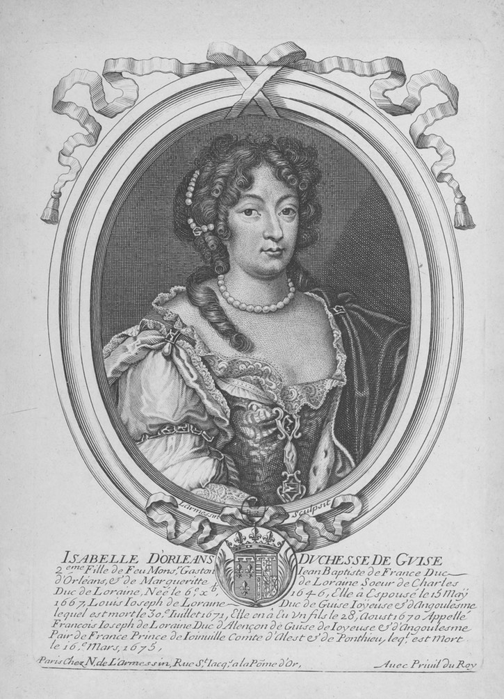 ca.1685 Élisabeth (Isabelle) d'Orléans, Duchess of Guise in an engraving by Larmessin Wm UPGRADE cropped detint