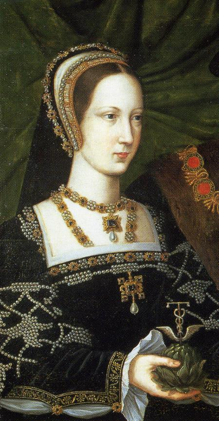 ca. 1515 Mary Tudor closeup from portrait with Henry Brandon attributed to Jan Mabuse (Woburn Abbey - Woburn, Bedfordshire UK) From www.kleio.org:en:history:famtree:tudors_stuarts: