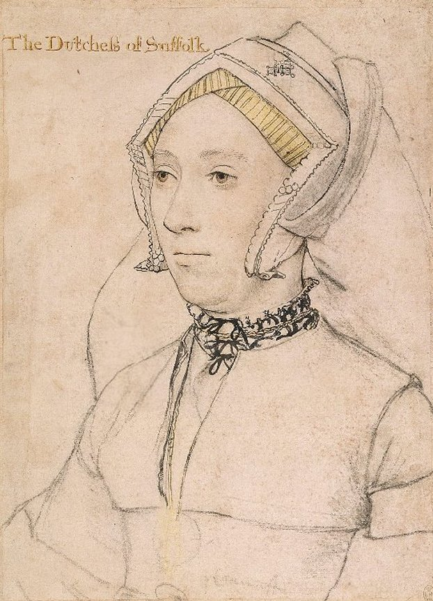 ca. 1534-1536 Katherine, Duchess of Suffolk and 4th wife of Charles Brandon, by Hans Holbein the Younger (Royal Collection) Wp
