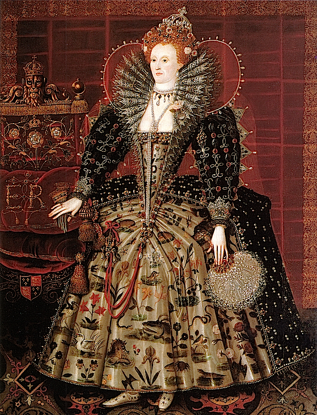 ca. 1599 Elizabeth I of England by Nicholas Hilliard studio (Hardwick Hall - Chesterfield, Derbyshire UK) Wp