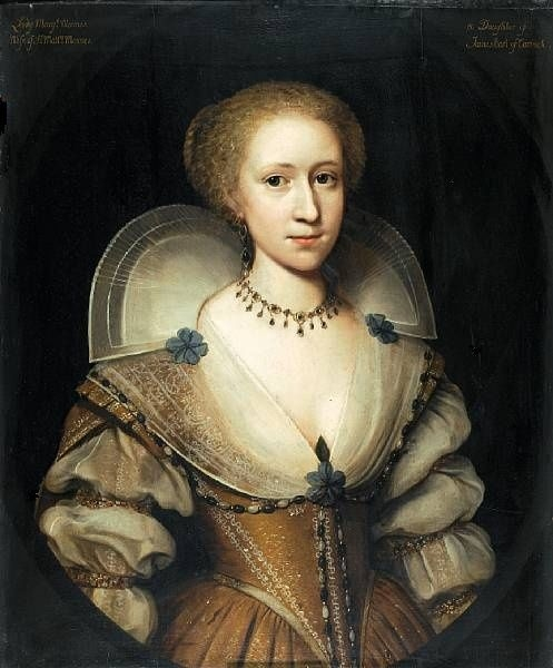 ca. 1620 Margaret Stuart, Lady Mennes, great-great granddaughter of Mary Boleyn attributed to Cornelius Johnson (Roy Precious Antiques and Fine Art)