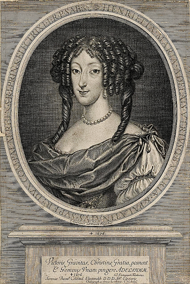 ca. 1655 Drawing of Princess Henriette Marie Adelaide of Savoy, Electress of Bavaria by ? (Muzeum Pałac w Wilanowie - Warsawa Poland)