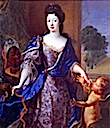 ca. 1697 Élisabeth Charlotte d'Orléans as Venus about to bind the wings of Cupid by Pierre Gobert (Versailles)