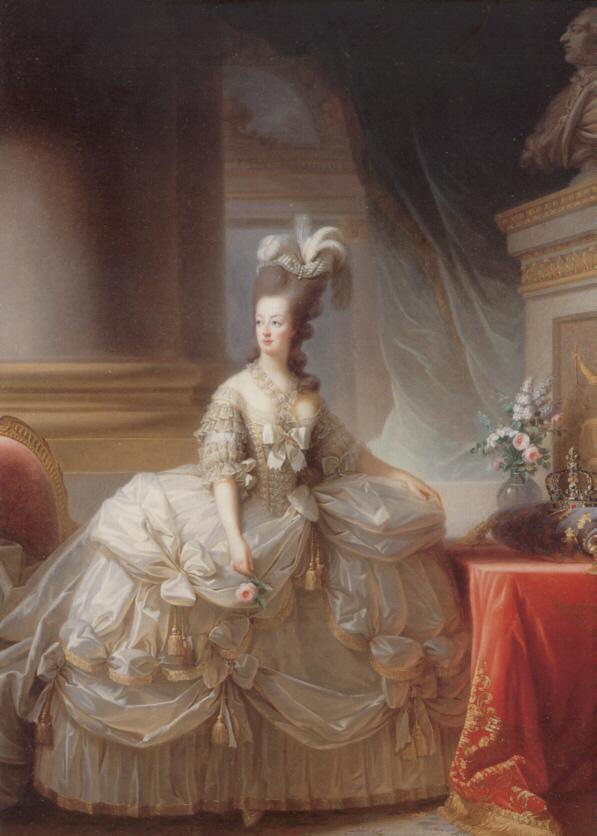 Ca 1778 marie antoinette by elisabeth louise vigee lebrun for Marie antoinette wedding dress