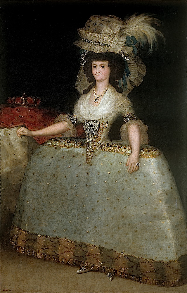 ca. 1789 Queen María Luisa with a Bustle by Francisco de Goya y Lucientes (Museo Nacional del Prado - Madrid Spain) AR