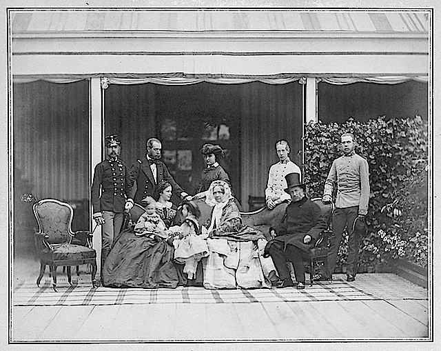 ca. 1860 Archduke Franz Karl of Austria (1802-1878) and his family (Sophie, Franz Joseph with Elisabeth, Rudolf and Gisela, Maximilian with Charlotte, Karl Ludwig, Ludwig Viktor) by Ludwig Angerer Wm