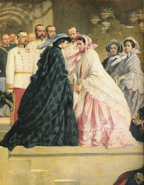 1861 Princess Charlotte meets Empress Sissi at Miramar (location unknown to gogm)