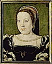ca. 1533 Catherine de Medicis, reine de France as when she arrived in France by Corneille de Lyon studio (Versailles)
