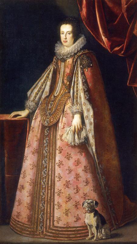 Claudia de´Medici wearing a pastel pink dress by ? (location unknown to gogm) From www.kleio.org:en:history:famtree:habsburger:5567