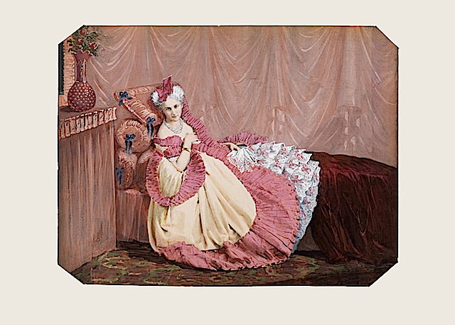 Comtesse de Castiglione laying down colorized print Wm