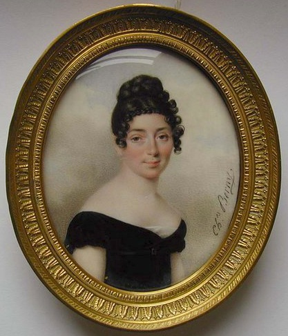Comtesse de Choffault 1830 by Charles Berny d'Ouville in low-cut black velvet dress with white underslip, her parted black hair tied in ringlets, plait and plaited bun (auctioned by Chritie's) from berny-douville.blogspot