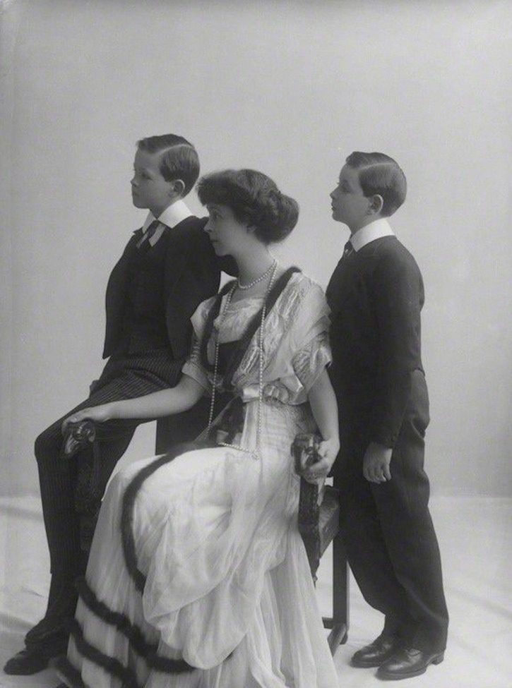 Consuelo Vanderbilt, Duchess of Marlborough with her sons John Albert William Spencer-Churchill, Marquess of Blanford (later 10th Duke of Marlborough) and Lord Ivor Charles Spencer-Churchill by Rita Martin From pinterest.com/leannejaconelli/aristocrat