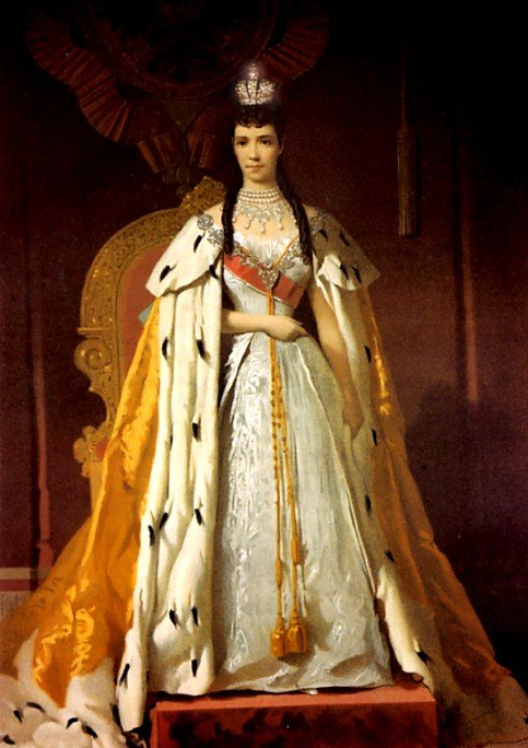 Dagmar wearing court dress and crown