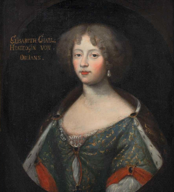 Elisabeth-Charlotte du Palatinat d'Orleans, Madame (1652-1722), second wife of Philippe I d'Orleans by ? (auctioned by Doyle) From mutualart.com increased exposure and filled in shadows. png