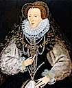 Elizabeth I wearing a black dress with white sleeves