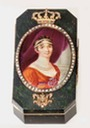 Empress Josephine wearing strings of pearls in a miniature painting set in a gold lined hardstone snuff-box and framed with diamonds (auctioned by Christie's)