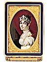 Empress Joséphine wearing a pearl parure in a miniature painting by or after Daniel Saint set in a gold presentation snuff box