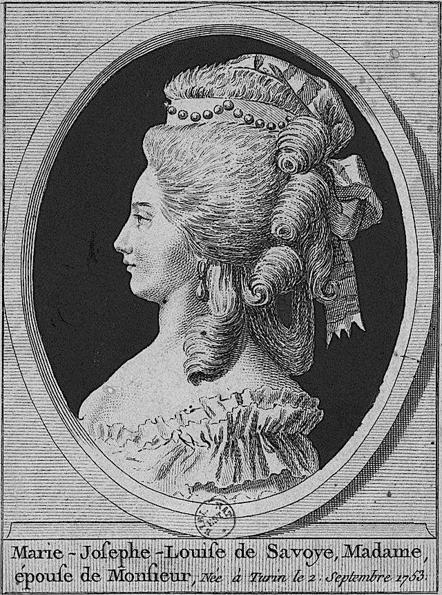 Engraved portrait of Marie Josephine Louise of Savoy by ? (Bibliothèque nationale de France - Paris France) Wm detint