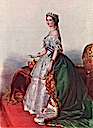 ca. 1855 Empress Eugénie print in robes old color print