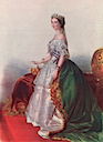 ca. 1855 Empress Euegénie print in robes old colored print