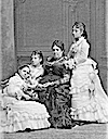 Family portrait with Isabel II and her daughters Paz, Eulalia, and Pilar