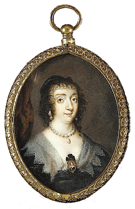 Henrietta Maria (1609–69), Queen Consort, wearing black dress with white collar, pearl necklace, earrings and miniature of her husband Charles I by ? (auctioned by Bonhams)