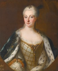Henrietta Maria of Brandenburg-Schwedt (1702-1782), half length, wearing an ivory silk bodice and ermine trimmed cloak by school of Antoine Pesne (auctioned by Sotheby's) Wm