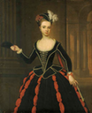 Hon. Mrs. William Townshend, née Henrietta Powlett, three-quarter-length, in black and red masquerade dress, holding a mask in her right hand, a classical arcade beyond by Thomas Gibson (auctioned by Christie's)