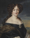 Hortensia Mancini wearing a blue dress and diamond and pearl brooch by Jacob Ferdinand Voet (auctioned by Christie's)